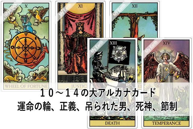 10~14の大アルカナカード 運命の輪、正義、吊られた男、死神、節制