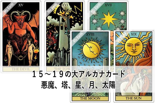 15~19の大アルカナカード 悪魔、塔、星、月、太陽