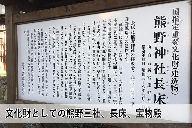 文化財としての熊野三社、長床、宝物殿