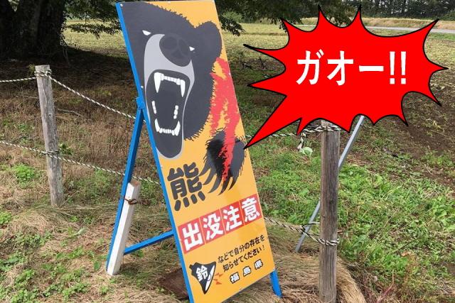 クマが怖い看板