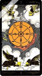ゴールデン・ユニバーサル・タロット 運命の輪のカード